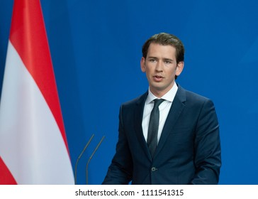 Berlin, Germany. 2018-06-12: Sebastian Kurz, Chancellor from Austria answers questions at the press conference at the Federal Chancellery in Berlin