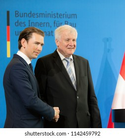 Berlin, Germany, 2018-06-13: The German Minister for the Interior, Horst Seehofer, and the Chancellor from Austria, Sebastian Kurz pose for the photographers at the press conference in Berlin
