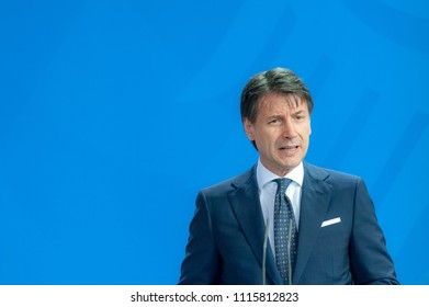 Berlin, Germany. 2018-06-18: Prime Minister of italy, Giuseppe Conte, answers questions  at the press conference at federal chancellery in Berlin