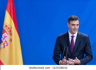 Berlin, Germany, 2018-06-26: The Prime Minister of Spain. Pedro Sanchez answers questions during the press conference with German Chancellor Angela Merkel at the federal chancellery in Berlin
