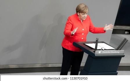 Berlin, Germany, 2018-07-04: Chancellor Angela Merkel speaks at the German Bundestag in Berlin