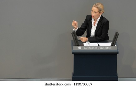 Berlin, Germany, 2018-07-04: The faction leader of the AFD, Alice Weidel,  speaks  at the German Bundestag in Berlin