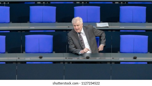 Berlin, Germany, 2018-07-04: Horst Seehofer, German Minister for the Interior, appears at the German Bundestag for the debate about the federal budget