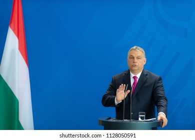 Berlin, Germany, 2018-07-05: Viktor Orbán, the Prime Minister of Hungary, answers questions at the press conference  at the federal chancellery in Berlin