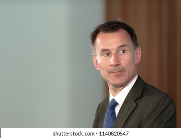 Berlin, Germany, 2018-07-23: The Minister for Foreign Affairs of Great Britain, Jeremy Hunt, answers questions at the press conference with his German collegue Heiko Maas at the office in Berlin