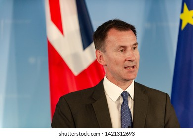 Berlin, Germany, 2018-07-25:  The british Minister for Foreign Affairs  Jeremy Hunt answers questions at the press conference in Berlin