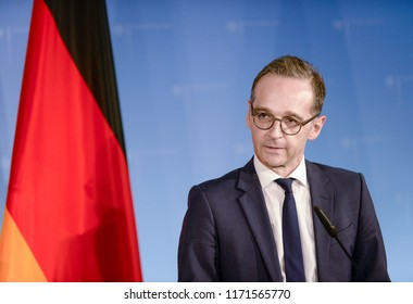 Berlin, Germany, 2018-09-03: German Minister for Foreign Affairs, Heiko Maas answers questions at the office in Berlin