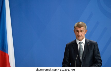 Berlin, Germany, 2018-09-05: The Prime Minister of the Czech Republic, Andrej Babiš answers questions at the press conference at the German Chancellery in Berlin