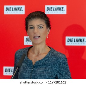 "Berlin, Germany, 2018-09-10: The faction leader of ""Die Linke"" , Sarah Wagenknecht, speaks to journalists at the German Bundestag in Berlin"