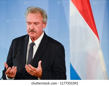 Berlin, Germany, 2018-09-10:  Jean Asselborn, Minister for Foreign Affairs of Luxembourg answers questions at the press conference in Berlin