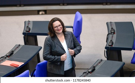 Berlin, Germany, 2018-09-12: The Faction Leader of the SPD, Andrea Nahles, attends the  Bundestag debate in Berlin