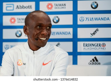 Berlin, Germany, 2018-09-14:  Press conference with  world record holder in the marathon, Eluid Kipchoge at the Hotel Intercontinental in Berlin