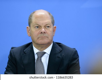 "Berlin, Germany, 2018-09-21: The German Minister for Finances, Olaf Scholz, takes part at the summit ""Wohngipfel"" at the German Chancellery in Berlin"