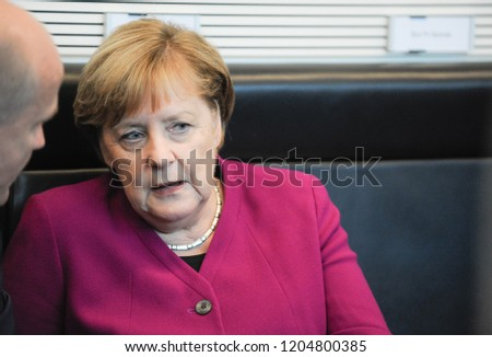 Berlin, Germany, 2018-10-16: German Chancellor Angela Merkel takes part at the faction meeting of her party at the German Bundestag in Berlin