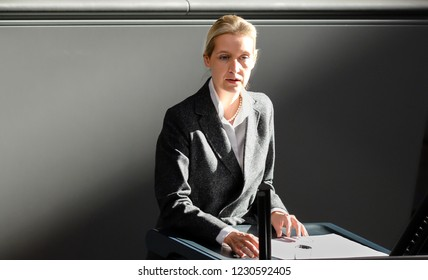 Berlin, Germany, 2018-10-18: AFD  faction leader Alice Weidel speaks at the German Bundestag in Berlin
