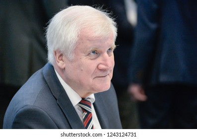 Berlin, Germany, 2018-11-27: The German  Minister for the Interior, Horst Seehofer takes part in the faction meeting of the conservative party at the German Bundestag