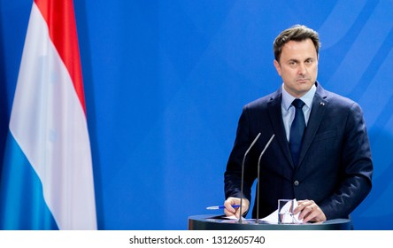 Berlin, Germany, 2019-02-13: Xavier Bettel, Prime Minister of Luxembourg answers questions at the press confernece at the German Chancellery in Berlin