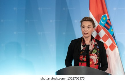 Berlin, Germany, 2019-03-07:  The Minister for Foreign Affairs from Croatia, Marija Pejcinovic-Buric, answers question at the press conference in Berlin