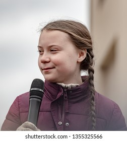 "Berlin, Germany, 2019-03-29: Greta Thunberg speaks at the ""Fridays For Future"" demonstration in Berlin"