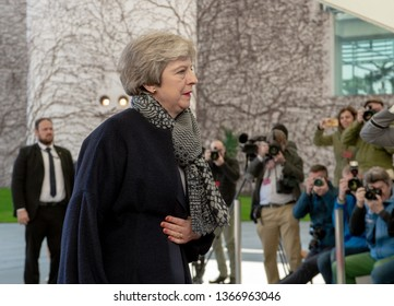Berlin, Germany. 2019-04-09: Prime Minister Theresa May arrives at the German Chancellery in Berlin for brexit negotiones