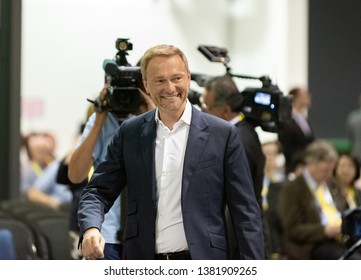 Berlin, Germany -2019-04-26: FDP leader Christian Lindner arrives at the party conference in Berlin