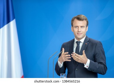 Berlin, Germany. 2019-04-29: The French President Emmanuel Macron makes a statement at the chancellery in Berlin