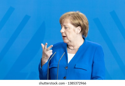 Berlin, Germany. 2019-04-29: The German Chancellor Angela Merkel makes a statement at the chancellery in Berlin