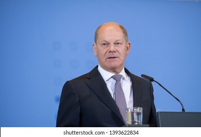 Berlin, Germany, 2019-05-09:  Press conference with the German Minister for Finances, Olaf Scholz, at his office in Berlin