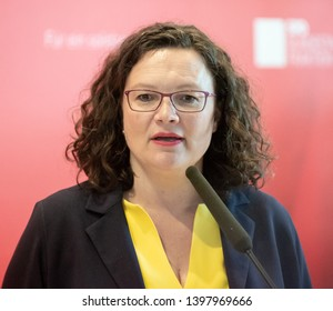 Berlin, Germany -2019-05-14: The Chairwoman of the SPD, Andrea Nahles, answers questions at the German Bundestag in Berlin