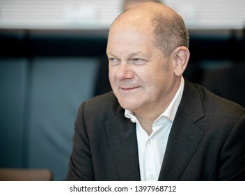 Berlin, Germany -2019-05-14: The German Minister for Finances, Olaf Scholz, takes part in the faction meeting at the German Bundestag