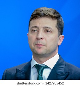 Berlin, Germany. 2019-06-18: Wolodymyr Selensky , the President of the Ukrain answers questions at the chancellery in Berlin