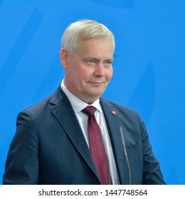 Berlin, Germany, 2019-07-10:  Antti Rinne, Prime Minister of Finland answers questions at the press conference at the German Chancellery in Berlin