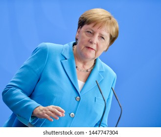 Berlin, Germany, 2019-07-10: Press conference with Angela Merkel at the German Chancellery in Berlin