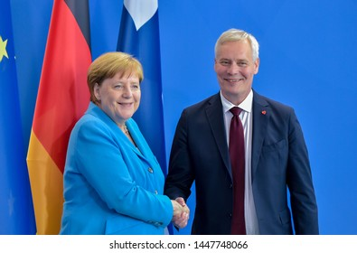 Berlin, Germany, 2019-07-10: Press conference with Angela Merkel and Antti Rinne, Prime Minister of Finland at the German Chancellery in Berlin