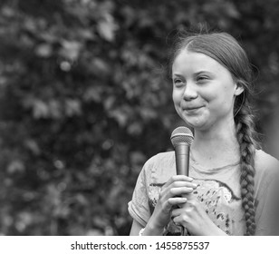 "Berlin, Germany, 2019-07-19: Greta Thunberg speaks at the ""Fridays For Future"" Event in Berlin"