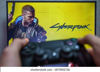 BERLIN, GERMANY - 2020, December 12: Cyberpunk 2077 game on playstation. Cyberpunk 2077 is an open-world, action-adventure story game set in Night City.