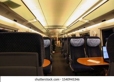 Berlin, Germany - 2020 Inside an empty rail coach of a high speed Deutsche Bahn DB train. DB is one of fastest trains in world like SNCF, Japanese & Chinese bullet magnetic levitation maglev. Eurail