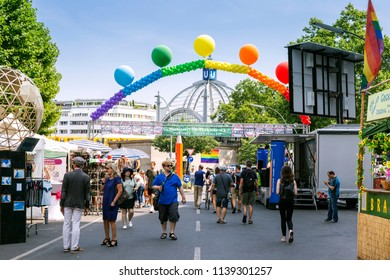 BERLIN, GERMANY - 21 Jul 2018: 26th annual Europe's largest Lesbian and Gay Festival around Nollendorfplatz in Schöneberg