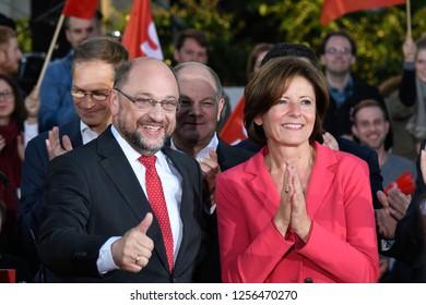 Berlin, Germany - 22 September 2017: Party leader Martin Schulz SPD Election rally held at Gendarmenmarkt in Berlin