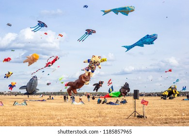 BERLIN, GERMANY - 22 September 2018: Festival of kites on the field of the former Tempelhof airport  in Berlin