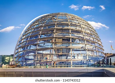 BERLIN, GERMANY - 24 Jul 2018: The Reichstag glass dome, constructed on top of the rebuilt Reichstag building in Berlin