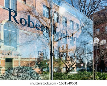 Berlin, Germany - 24 March 2020: The sign in front of the Robert Koch-Institut in Berlin.