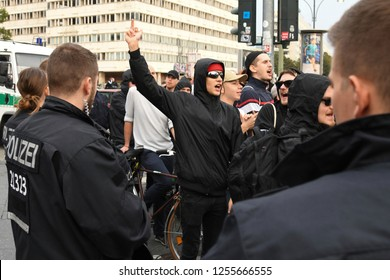 Berlin, Germany - 24 September 2017: Police remove a protester during Anti AfD Protest near Alexanderplatz in Berlin