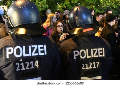 Berlin, Germany - 24 September 2017: Police and protesters during right-wing Anti AfD Protest near Alexanderplatz in Berlin