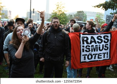 Berlin, Germany - 24 September 2017: Protesters during right-wing Anti AfD Protest near Alexanderplatz in Berlin