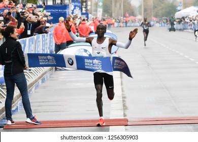 Berlin, Germany 24 September 2017 - 2017 Berlin Marathon winner Eliud Kipchoge with a time of 2:03:32