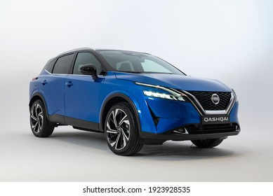 Berlin, Germany - 24th, February, 2021: The newest generation of Nissan Qashqai on exposition point.