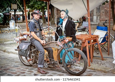 BERLIN, GERMANY - 25 August 2018: Nikolaiviertel (Nicholas quarter) during the retro fest which transforms the streets into a big stage for historical reconstruction