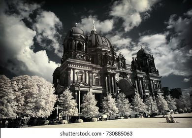 BERLIN, GERMANY, 25 SEP 2008: Infared effect of Berliner Dom (Berlin Cathedral) at famous Museumsinsel (Museum Island)