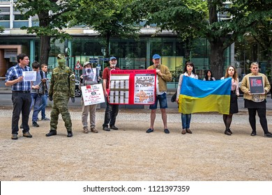 BERLIN, GERMANY - 26 Jun 2018: Demonstration near Russian Embassy, participators demand freedom for the Ukrainian political prisoners in Russia, among them Oleg Sentsov, a famous Ukrainian filmmaker
